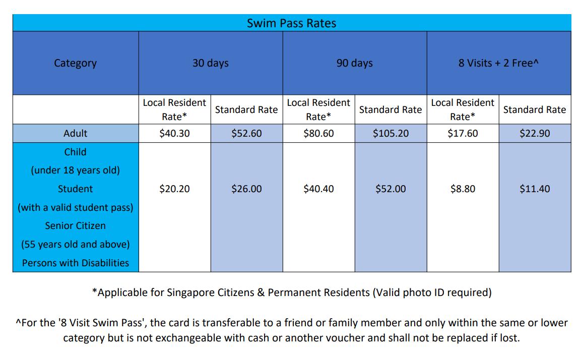 OCBC Aquatic Centre Swim Pass Rates
